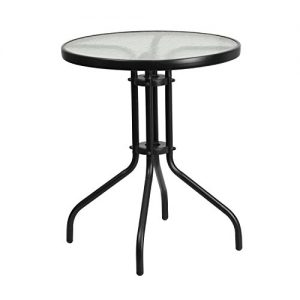 """Flash Furniture 23.75"""" Round Tempered Glass Metal Table"""