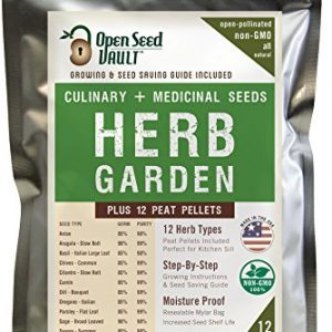 100% NON-GMO Heirloom Culinary and Medicial Herb Kit – 12 popular Easy-to-Grow Herb Seeds by Open Seed Vault – includes 12 seed starting peat pellets!