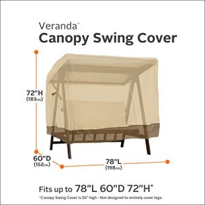 Classic Accessories Veranda 2-Seater Patio Canopy Swing Cover – Durable and Water Resistant Outdoor Furniture Cover (72962)