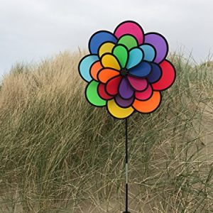 In the Breeze Best Selling Triple Wheel Flower – Ground Stake Included – Colorful Wind Spinner for your Yard or Garden