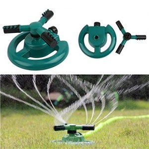 UNKE Lawn Sprinklers 360° Lawn Circle Rotating Water Sprinkler 3 Nozzle Garden ...