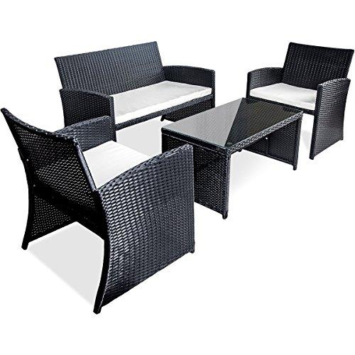 Merax 4 PC Outdoor Garden Rattan Patio Furniture Set Cushioned Seat Wicker Sofa (Black)